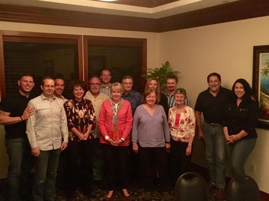 From left (at the advisory board dinner): Matt Long, Brian Pryor, John Mercurio, Heidi Ward, Ron Riegel, Felix Duerr, Nancy Godbold, John Godbold, Juanita Anders, Debra Canapp (behind), Sherman Canapp, Wendy Frydrych, Luis De Tabaoda, Lisa Miller.